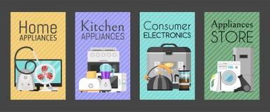 Elektroniska hush?llanordningar st?llde in av kortvektorillustration K?k och hem- utrustning f?r hus st?ng maskinen som skjutas u vektor illustrationer