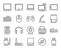 Elektroniska och parallella apparater grundläggande uppsättning av enkla linjära symboler Royaltyfri Foto