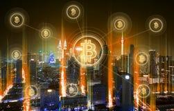 Elektroniska pengar, blockchainöverföringar och finansbegrepp arkivbild