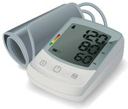 Elektroniska Tonometer för blodtryckmätning Automatisk övrearmblodtryckbildskärm vart begreppshanden har den sena pillen f?r sjuk vektor illustrationer