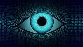 Elektroniskt ögonbegrepp för storebror, teknologier för den globala bevakningen, säkerhet av ADB-system och nätverk Royaltyfri Bild