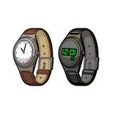 Elektroniskt armbandsur som är mekaniskt och vektor illustrationer