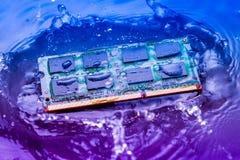 Elektroniskt begrepp för teknologicyber nedgång för CPU-RAMdator in i Royaltyfri Foto