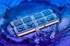 Elektroniskt begrepp för teknologicyber nedgång för CPU-RAMdator in i Royaltyfri Fotografi