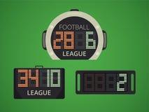 Elektroniskt funktionskort för fotboll/för fotboll för spelareutbyte Extra Tid panel vektor illustrationer