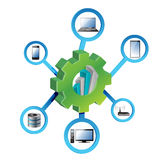 Elektroniskt nätverksbegrepp för industriella kugghjul Royaltyfria Bilder