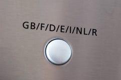 elektroniskt språk för knapp Fotografering för Bildbyråer