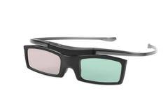 Elektroniskt three-D glasögon för LCD-TV som isoleras på vitbac arkivbild