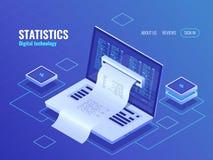 Elektronräkning, biing systemonline-betalning, finansrapportbegrepp, programkod, isometriskt bärbar datorneonmörker royaltyfri illustrationer