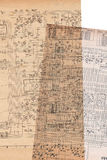 Elektroplan oud document Royalty-vrije Stock Fotografie