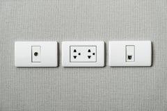 elektrostopcontactdoos op muur Royalty-vrije Stock Foto