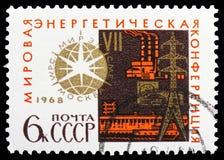 Elektrownia i emblemat 7th potęgi światowej konferencja, Międzynarodowy kongresu seria około 1968, obraz stock