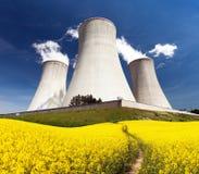 Elektrownia jądrowa Dukovany z złotym kwiecenia polem Obrazy Stock
