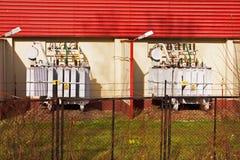elektrownia transformatory Zdjęcia Royalty Free