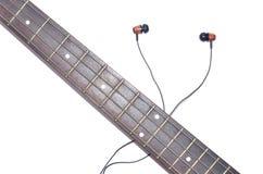 Elektryczna Basowej gitary szyja z drewnianą słuchawką odizolowywającą na białym tle Zdjęcie Stock