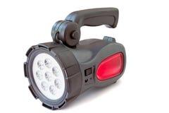 Elektryczna do naładowania dowodzona latarka na białym tle Zdjęcie Royalty Free