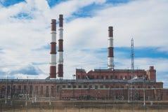 Elektryczna i termiczna energetyczna roślina Zdjęcia Stock