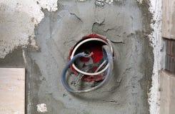Elektryczna nasadka z śrubokrętem w ścianie Zdjęcia Royalty Free