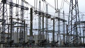 Elektryczna podstacja, władzy tranformator Obrazy Royalty Free