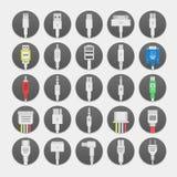 Elektryczna prymka, włączniki i dźwigarki mieszkanie, wykładamy ikony ustawiać Inkasowa Podłączeniowa technologia, włącznika zasi Fotografia Stock