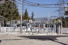 Elektryczna wysoka woltaż podstacja, składniki i zdjęcia stock