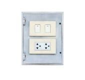 Elektryczna zmiana i prymka na ścianie pojedynczy białe tło Zdjęcie Royalty Free
