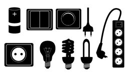 Elektryczne akcesoria sylwetki ikony wektorowe Zdjęcie Royalty Free