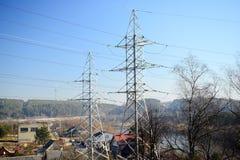 Elektryczne energetyczne rośliny blisko Gariunai w Vilnius mieście Obrazy Stock