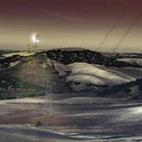 Elektryczne linie energetyczne w tajemniczym świetle Fotografia Stock