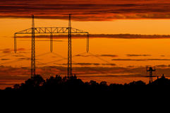 elektryczne linie władza Obrazy Royalty Free