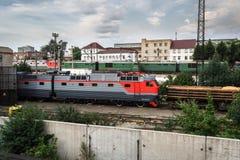 Elektryczne lokomotywy w zajezdni fotografia royalty free