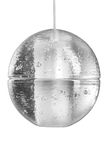 Elektrycznego światła lampowej żarówki obwieszenie na suficie na białym tle Nowożytna szklana round lampa Zdjęcie Royalty Free