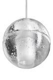 Elektrycznego światła lampowej żarówki obwieszenie na suficie na białym tle Nowożytna szklana round lampa Fotografia Royalty Free