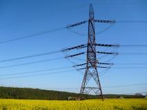 Elektrycznego drutu wierza w żółtym gwałta polu Zdjęcia Stock