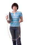 elektrycznego żelaza kobieta Fotografia Stock