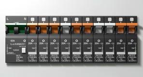 Elektrycznego obwodu łamacza panel Obraz Stock