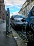 Elektrycznego samochodu ładuje stacja w Oslo Fotografia Stock