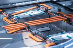 Elektrycznego samochodu litu baterii władzy i paczki związki Błękit tonujący Obrazy Stock