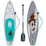 Elektrycznego sup surfboard wektorowa płaska ilustracja ilustracji