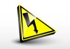 elektrycznego szoka ostrzegawczy symbol z 3d szklanym skutkiem Fotografia Stock