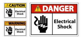 Elektrycznego szoka pora?enia pr?dem symbolu znak, Wektorowa ilustracja, Odizolowywa Na Bia?ej t?o etykietce EPS10 royalty ilustracja