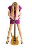 elektrycznej dziewczyny gitary gorący bawić się Zdjęcia Stock
