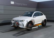 Elektrycznej SUV samochodu wymiany niska bateria w bateryjnej zamienia staci royalty ilustracja