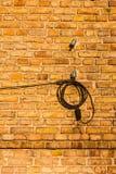 Elektryczni druty dołączający cegły ściana. Obraz Stock