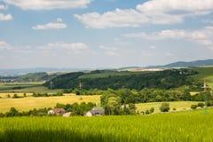 Elektryczni powerlines w rolniczych terenach Fotografia Stock