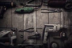 Elektryczni ręk narzędzia nakrywają v (śrubokrętu świder Zobaczył wyrzynarki jointer) Zdjęcia Stock