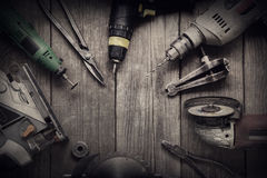 Elektryczni ręk narzędzia nakrywają v (śrubokrętu świder Zobaczył wyrzynarki jointer) Fotografia Stock