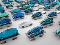 Elektryczni samochody na pojazdów dźwignięciach ilustracja wektor