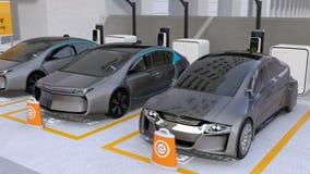 Elektryczni samochody w samochodowego udzielenia parking royalty ilustracja