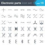 Elektryczni symbole ustawiający prąd, trójfazowi związki i elektryczni transformatory, ilustracji